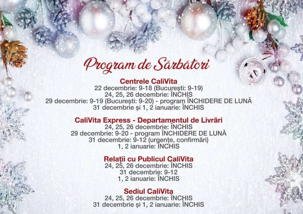 Programul CaliVita Romania in perioada sarbatorilor de iarna