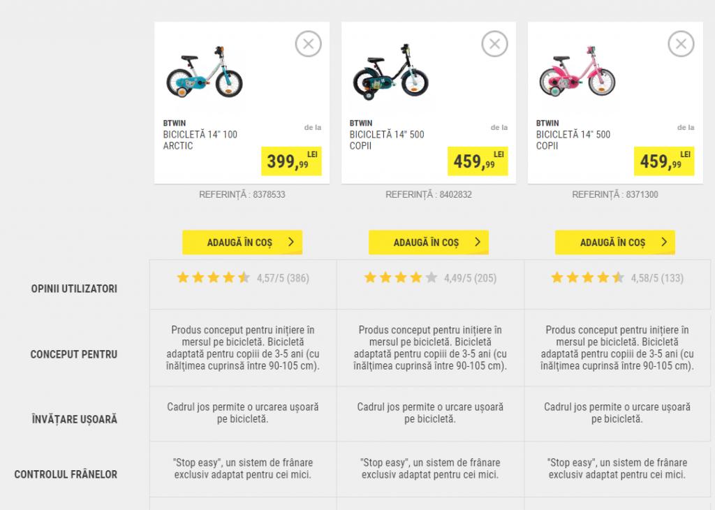 Comparator biciclete copii Decathlon.ro